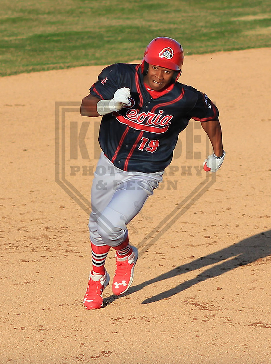 APPLETON - April 2015: outfielder Magneuris Sierra (19) of the Peoria Chiefs during a game against the Wisconsin Timber Rattlers on April 12th, 2015 at Fox Cities Stadium in Appleton, Wisconsin. (Photo Credit: Brad Krause)