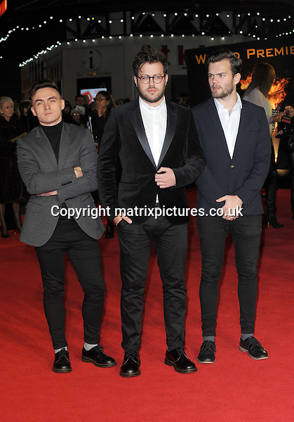 NON EXCLUSIVE PICTURE: PAUL TREADWAY / MATRIXPICTURES.CO.UK<br /> PLEASE CREDIT ALL USES<br /> <br /> WORLD RIGHTS<br /> <br /> Scottish band Prides attending the World Premiere of The Hunger Games: Mockingjay Part 1 at Odeon Leicester Square, in London.<br /> <br /> NOVEMBER 10th 2014<br /> <br /> REF: PTY 144734