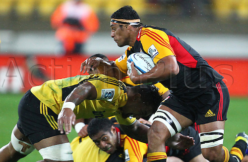 17.03.2013 Wellington, New Zealand. Chiefs' Tanerau Latimer on the attack during the 2013 Super Rugby season - Hurricanes v Chiefs, Westpac Stadium...