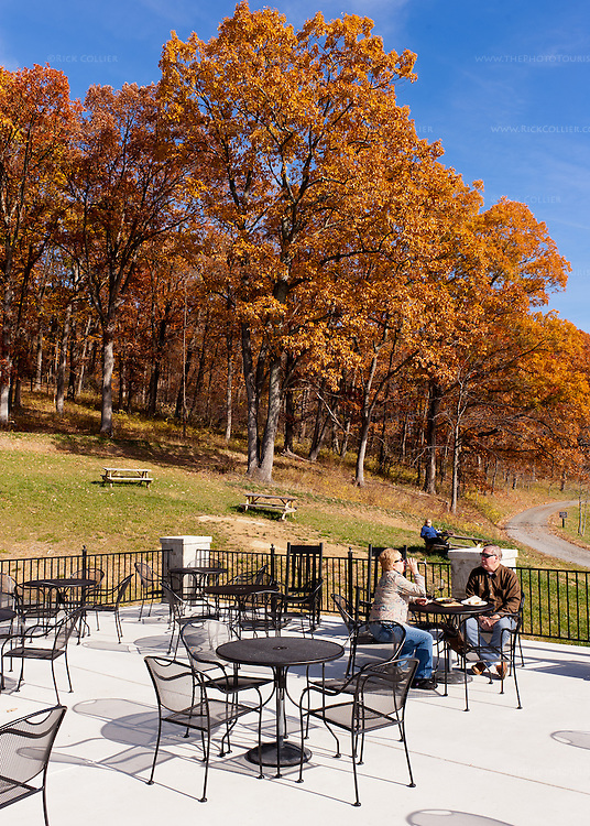 The tasting room patio at Delaplane Cellars offers spectacular views of nearby forest, with the valley spread out below in the other direction.
