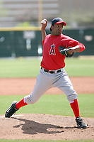 Orangel Arenas #22 of the Los Angeles Angels plays in a minor league spring training game against the Colorado Rockies at the Angels minor league complex on March 18, 2011  in Tempe, Arizona. .Photo by:  Bill Mitchell/Four Seam Images.