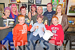 Pictured at the Shave n Dye night in the Tatler Jack bar, Killarney on Saturday night in aid of the Irish Cancer Society were Dylan Leen, Eileen Leen, Sheila McCarthy, Samantha O'Sullivan, Robert and Dylan Roome, Jordan, Dylan, Joe and Geraldine McCarthy.....................