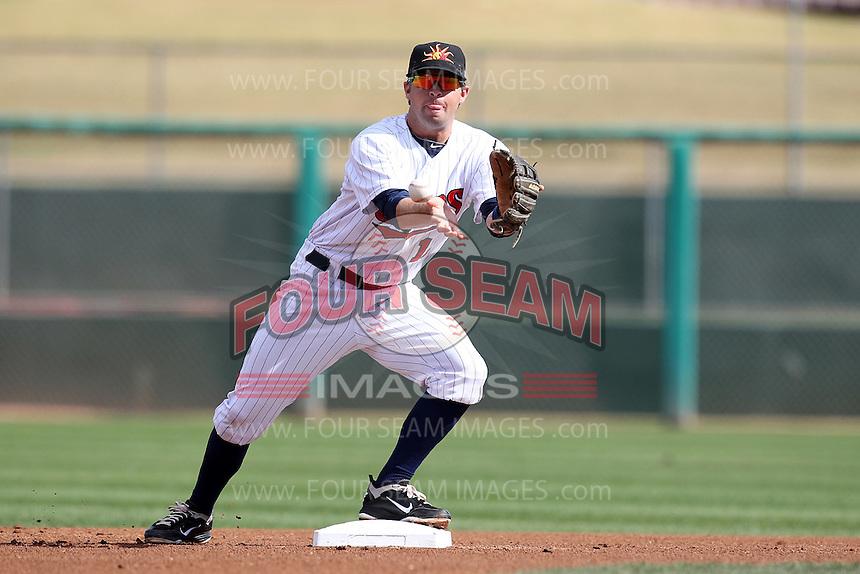 Mesa Solar Sox second baseman Brian Dozier #11 during an Arizona Fall League game against the Phoenix Desert Dogs at HoHoKam Park on November 3, 2011 in Mesa, Arizona.  Mesa defeated Phoenix 8-7.  (Mike Janes/Four Seam Images)