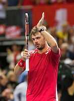 Switserland, Genève, September 18, 2015, Tennis,   Davis Cup, Switserland-Netherlands, Stan Wawrinka celebrates his win<br /> Photo: Tennisimages/Henk Koster
