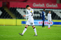 Tom Carroll of Swansea City leaves the field after receiving a red card during the Sky Bet Championship match between Swansea City and Blackburn Rovers at the Liberty Stadium in Swansea, Wales, UK. Wednesday 11 December 2019