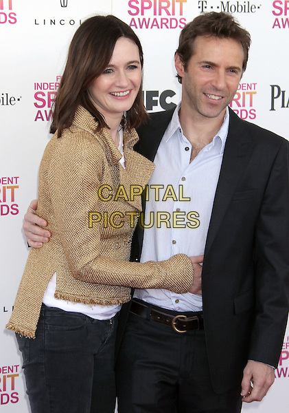 Emily Mortimer & Alessandro Nivola.2013 Film Independent Spirit Awards - Arrivals Held At Santa Monica Beach, Santa Monica, California, USA,.23rd February 2013..indy indie indies indys half length gold jacket tweed suit grey gray shirt blue arms around smiling   suit married husband wife .CAP/ADM/RE.©Russ Elliot/AdMedia/Capital Pictures