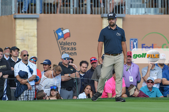 Ryan Moore (USA) looks over his birdie putt on 18 during day 4 of the Valero Texas Open, at the TPC San Antonio Oaks Course, San Antonio, Texas, USA. 4/7/2019.<br /> Picture: Golffile   Ken Murray<br /> <br /> <br /> All photo usage must carry mandatory copyright credit (© Golffile   Ken Murray)