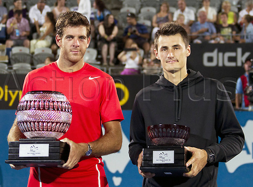 11.01.2014. Sydney Australia, Juan Martin Del Potro (L) of Argentina and Bernard Tomic of Australia pose for photo during the awards ceremony of mens singles final match at the Apia Sydney International tennis tournament, in Sydney, Australia, January 11, 2014. Juan Martin Del Potro claimed the title 2-0.