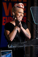 NEW YORK - JULY 12: Singer Pink speaks during the UJA-Federation Music Visionary of the Year Award Luncheon at the Pierre Hotel on July 12, 2012 in New York City. (Photo by MPI81/MediaPunchInc) /*NORTEPHOTO*<br />