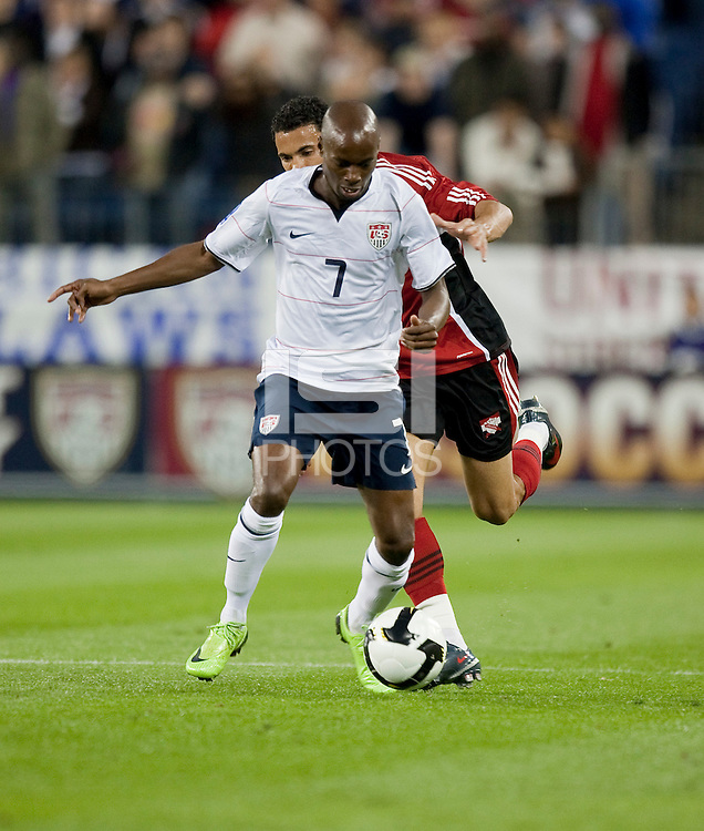 DeMarcus Beasley controls the ball. FIFA World Cup qualifiers U.S. Men's National Team vs. Trinidad & Tobago. US defeated Trinidad & Tobago 3-0 at LP Field in Nashville, Tennessee on April 1, 2009.