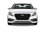 Car photography straight front view of a 2016 Hyundai Sonata Hybrid SE 4 Door Sedan Front View