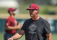 NWA Democrat-Gazette/BEN GOFF @NWABENGOFF<br /> Mark Kingston, South Carolina head coach, Friday, June 8, 2018, during practice for the NCAA Fayetteville Super Regional at Baum Stadium.