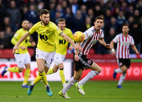 Blackburn Rovers' Ben Brereton vies for possession with Sheffield United's Chris Basham<br /> <br /> Photographer Chris Vaughan/CameraSport<br /> <br /> The EFL Sky Bet Championship - Sheffield United v Blackburn Rovers - Saturday 29th December 2018 - Bramall Lane - Sheffield<br /> <br /> World Copyright © 2018 CameraSport. All rights reserved. 43 Linden Ave. Countesthorpe. Leicester. England. LE8 5PG - Tel: +44 (0) 116 277 4147 - admin@camerasport.com - www.camerasport.com