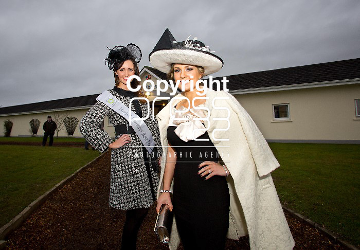 28.12.12                        NO REPRO FEE Michelle Lenahan, Castletroy Co. Limerick (left) won the Herbal Essences 'Best Tressed' competition, as part of the Limerick Races Ladies Day. The 'Best Tressed' competition is a first for Limerick Ladies Day and was launched to celebrate the new limited edition 'Herbally Ever After' range from Herbal Essences, as part of the brand's 40th birthday celebrations. 'Best Tressed' competitors dazzled with hair that captured the romantic, fairy tale inspired essence of 'Herbally Ever After'. Michelle will receive a year's supply of Herbal Essences products and a VIP appointment with top hair stylist, Dylan Bradshaw.  Muriel Callaghan, Ballinalee, Co. Longford (right) was the winner of the Limerick Racecourse Ladies Day Competition on Friday 28th of December.  Muriel was wearing a Diva dress and a stunning cream coat from Zara, her outfit was top off by a black and cream hat from Michael H. Pic. Alan Place / Press 22