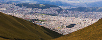 Panorama of City of Quito seen from the Pichincha Volcano, Ecuador, South America