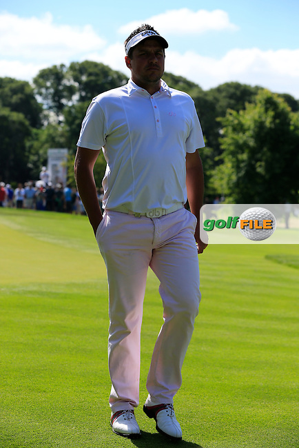 Sam Walker (ENG) walks off the 9th green during Sunday's Final Round of the 2014 Irish Open held at Fota Island Resort, Cork, Ireland. 22nd June 2014.<br /> Picture: Eoin Clarke www.golffile.ie