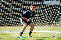 Sky Blue FC goalkeeper Jill Loyden (21) during warmups. Sky Blue FC defeated the Washington Spirit 1-0 during a National Women's Soccer League (NWSL) match at Yurcak Field in Piscataway, NJ, on July 6, 2013.