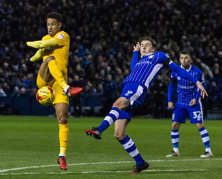Sheffield Wednesday's Adam Reach prevents the shot from Preston North End's Callum Robinson<br /> <br /> Photographer Alex Dodd/CameraSport<br /> <br /> The EFL Sky Bet Championship - Sheffield Wednesday v Preston North End - Saturday 3rd December 2016 - Hillsborough - Sheffield<br /> <br /> World Copyright &copy; 2016 CameraSport. All rights reserved. 43 Linden Ave. Countesthorpe. Leicester. England. LE8 5PG - Tel: +44 (0) 116 277 4147 - admin@camerasport.com - www.camerasport.com