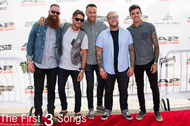Garret Rapp, Devin King, Aaron Saunders, Steve Carey, and Mike Honson of The Color Morale attend the 2014 AP Music Awards at the Rock And Roll Hall Of Fame and Museum at North Coast Harbor in Cleveland, Ohio.