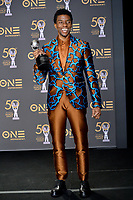LOS ANGELES, CA. March 30, 2019: Chadwick Boseman at the 50th NAACP Image Awards.<br /> Picture: Paul Smith/Featureflash