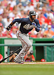 22 July 2012: Atlanta Braves outfielder Jason Heyward in action against the Washington Nationals at Nationals Park in Washington, DC. The Braves fell to the Nationals 9-2 splitting their 4-game weekend series. Mandatory Credit: Ed Wolfstein Photo