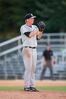 Pulaski Yankees relief pitcher Cody Hamlin (50) looks to his catcher for the sign against the Danville Braves at American Legion Post 325 Field on July 31, 2016 in Danville, Virginia.  The Yankees defeated the Braves 8-3.  (Brian Westerholt/Four Seam Images)