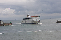 Spirit of Britain of the P & O Ferries fleet entering the Port of Dover, Kent on 24.5.13.