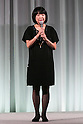 Editor in chief Emi Aizo speaks during the Special Dress Collection organised by 25 ans Wedding on November 1, 2015, Tokyo, Japan. The fashion magazine celebrates 30 years anniversary with a runway called Special Dress Collection in Roppongi Hills. (Photo by Rodrigo Reyes Marin/AFLO)