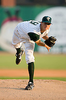 Starting pitcher Eric Beaulac (19) of the Savannah Sand Gnats in action at Grayson Stadium in Savannah, GA, Wednesday August 6, 2008  (Photo by Brian Westerholt / Four Seam Images)