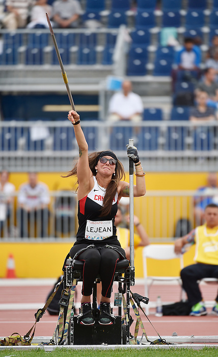 Toronto, ON - Aug 14 2015 - Pamela Lejean competes in the Women's Javelin Throw F53/54 Final in the CIBC Athletics Stadium during the Toronto 2015 Parapan American Games  (Photo: Matthew Murnaghan/Canadian Paralympic Committee)