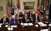 US President Barack Obama speaks to the press after a meeting with financial regulators to receive an update on their progress in implementing Wall Street Reform, in the Roosevelt Room of the White House, in Washington, DC, March 7, 2016.  Janet Yellen (2L) Chair, Federal Reserve Board of Governors, Richard Cordray (2R) Director, Consumer Financial Protection Bureau, Timothy Massad, Chairman, Commodity Futures Trading Commission (L) and Mary Jo White, Chair, Security and Exchange Commission (R) listen.<br /> Credit: Aude Guerrucci / Pool via CNP