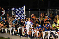 Kansas City, MO - Saturday May 28, 2016: FC Kansas City fans celebrates a goal against the Orlando Pride during a regular season National Women's Soccer League (NWSL) match at Swope Soccer Village.  Kansas City won 2-0.