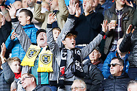 Swansea supporters celebrate their win during the Sky Bet Championship match between Swansea City and Cardiff City at the Liberty Stadium, Swansea, Wales, UK. Sunday 27 October 2019