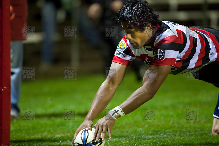 Ahsee Tuala touches down for the Steelers first try. ITM Cup rugby game between Counties Manukau Steelers and the Tasman Makos played at Bayer Growers Stadium Pukekohe on Thursday 2nd September 2010..Counties Manukau won 23 - 3 after leading 13 - 3 at halftime.