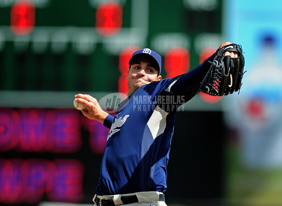 Mar. 9, 2010; Tempe, AZ, USA; San Diego Padres pitcher Chris Young throws in the first inning against the Los Angeles Angels at Tempe Diablo Stadium. Mandatory Credit: Mark J. Rebilas-