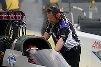 May 10, 2013; Commerce, GA, USA: NHRA crew chief for top fuel dragster driver Leah Pruett during qualifying for the Southern Nationals at Atlanta Dragway. Mandatory Credit: Mark J. Rebilas-