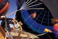 AJ3378, hot air balloon, Atlanta, Georgia, festival, Preparing hot air balloon for lift off at the Atlanta Dogwood Festival in Piedmont Park in Atlanta in the state of Georgia.