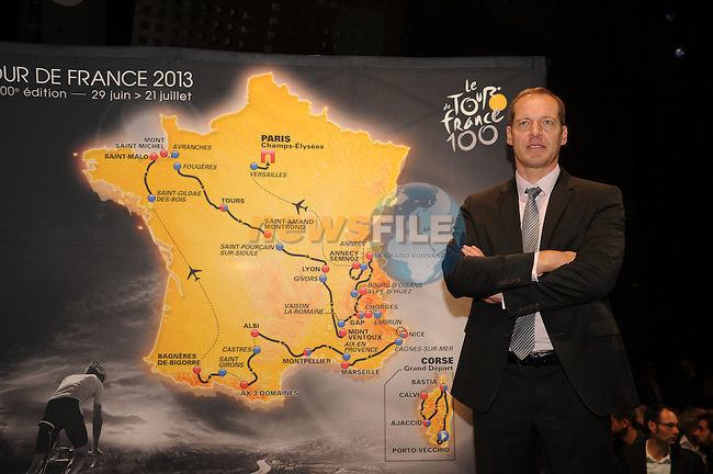 Tour Director Christian Prudhome on stage at the launch of the route for the 100th edition of the 2013 Tour de France in the Palais de Congress, Paris, France 24th October 2012 (Photo B.Bade/ASO/www.newsfile.ie)