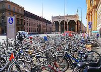 Bicycles on Odeonsplatz in Munich with Feldherrnhalle in background
