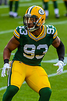 Green Bay Packers linebacker Reggie Gilbert (93) during a preseason football game against the Philadelphia Eagles on August 10, 2017 at Lambeau Field in Green Bay, Wisconsin. Green Bay defeated Philadelphia 24-9.  (Brad Krause/Krause Sports Photography)