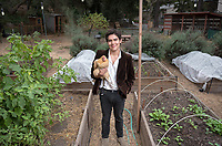 Director of FEAST (Food, Energy and Sustainability Team) Diego Zapata '19 in the UEPI (Urban & Environmental Policy Institute) garden at Occidental College, November 2, 2017.<br /> FEAST is an Oxy student club dedicated to enjoying, studying, and discussing the connection between our food and the environment.<br /> (Photo by Marc Campos, Occidental College Photographer)