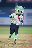 """Great Falls Voyagers mascot """"Orbit"""" runs the bases between innings of the game against the Helena Brewers at Centene Stadium on August 18, 2017 in Helena, Montana.  The Voyagers defeated the Brewers 10-7.  (Brian Westerholt/Four Seam Images)"""