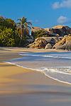 Virgin Gorda, British Virgin Islands, Caribbean <br /> Morning light on rocks and surf of Valley Trunk Beach