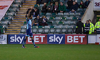 Sido Jombati of Wycombe Wanderers protests to a refeee's asssistant after Plymouth's third goal during the Sky Bet League 2 match between Plymouth Argyle and Wycombe Wanderers at Home Park, Plymouth, England on 26 December 2016. Photo by Mark  Hawkins / PRiME Media Images.