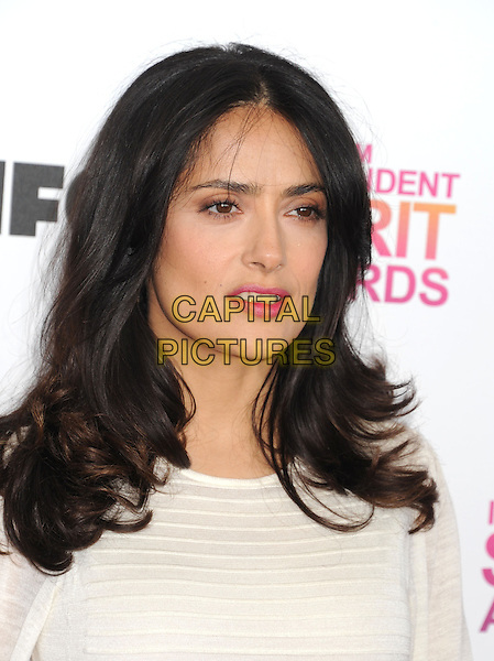 Salma Hayek.2013 Film Independent Spirit Awards - Arrivals Held At Santa Monica Beach, Santa Monica, California, USA,.23rd February 2013..indy indie indies indys headshot portrait white cream pink lipstick .CAP/ROT/TM.© TM/Roth/Capital Pictures