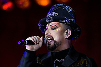 POMPANO BEACH, FL &ndash; JULY 1: Boy George and Culture Club at the Pompano Beach Amphitheater in Pompano Beach, FL. July 1, 2018. <br /> CAP/MPI04<br /> &copy;MPI04/Capital Pictures