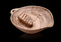 Minoan clay fruit juicer bowl with clay grater, Phaistos Palace 1800-1600 BC; Heraklion Archaeological  Museum, black background.
