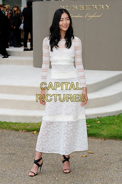 LONDON, ENGLAND - SEPTEMBER 21:  Liu Wen attending the Burberry Prorsum Spring/Summer 2016 show during London Fashion Week at Kensington Gardens, on September 21, 2015 in London, England.<br /> CAP/MAR<br /> &copy; Martin Harris/Capital Pictures