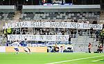 Stockholm 2015-03-05 Fotboll Svenska Cupen Djurg&aring;rdens IF - IFK Norrk&ouml;ping :  <br /> Norrk&ouml;pings supportrar med banderoller med texten &quot;Vi delar hellre bass&auml;ng med Elfsborg &auml;n flyttar in hos Bajen&quot; under matchen mellan Djurg&aring;rdens IF och IFK Norrk&ouml;ping <br /> (Foto: Kenta J&ouml;nsson) Nyckelord:  Djurg&aring;rden DIF Tele2 Arena Svenska Cupen Cup IFK Norrk&ouml;ping Peking supporter fans publik supporters banderoll banderoller