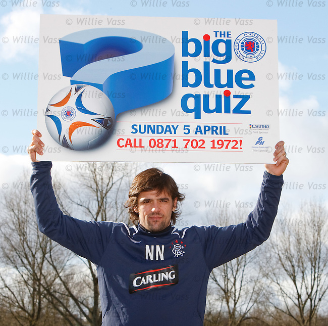 Rangers striker Nacho Novo at Murray Park promoting the Big Blue Quiz